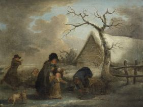 Attributed to George Morland (London 1763-1804) A winter landscape with figures skating