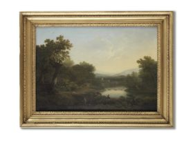 George Smith of Chichester (Chichester 1714-1776) An Italianate river landscape with a figure fis...
