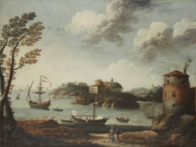 Venetian School, 18th Century A Mediterranean inlet with shipping at anchor; and A Mediterranean ...