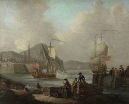 Circle of Claude Joseph Vernet (Avignon 1714-1789 Paris) A harbour scene with figures unloading a...