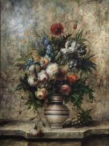 20th century school Still life of flowers on a marble ledge
