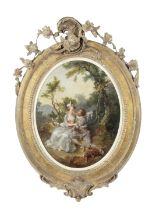 French School, circa 1800 Elegant couples in landscapes 16 in. ((2))