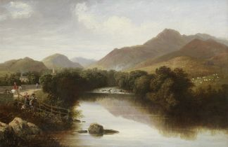English School, 19th Century A fisherman and other figures by a river bank before a mountainous l...