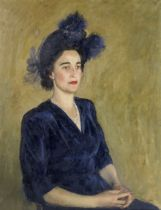 Henry Marvell Carr (British, 1894-1970) Portrait of a lady in blue