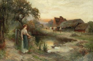 Attributed to Ernest Walbourn (British, 1872-1927) Evening on the farm