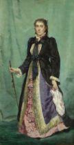 Charles Edouard Boutibonne (French, 1816-1897) Portrait of a lady wearing a silk dress