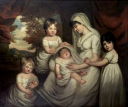 Follower of George Romney (Beckside 1734-1802 Kendal) Portrait of a family before a landscape