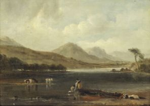 Anthony Vandyke Copley Fielding, P.O.W.S. (British, 1787-1855) Lakeland view with figures and cattle