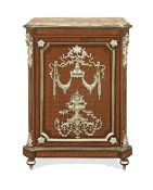 A French 19th century gilt bronze mounted rosewood, bois satine and tulipwood parquetry meuble d'...