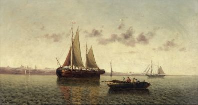 Continental School (19th Century) Shipping in calm waters