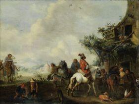 Follower of Carel van Falens (Antwerp 1683-1733 Paris) Figures outside an inn