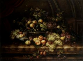 S. Rochell (20th Century) Still life with peaches and grapes