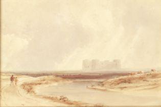 Anthony Vandyke Copley Fielding, P.O.W.S. (British, 1787-1855) Martello Towers; A border castle, ...