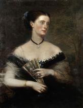 Richard Buckner (British, 1812-1883) Portrait of a lady holding an oriental fan in a landscape