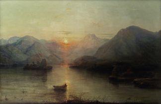Alfred Clint (British, 1807-1883) Sunset over highland loch