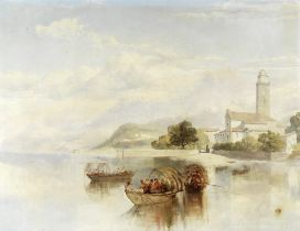 Attributed to James Baker Pyne (British, 1800-1870) A view in the Italian lakes