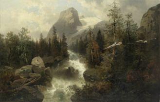 Josef Thoma Jnr. (Austrian, 1828-1899) River rushing through an alpine landscape (unframed)