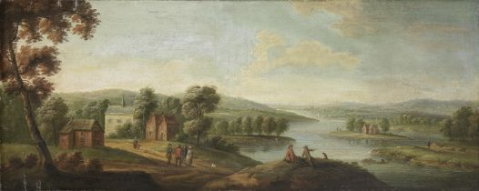 Follower of Peter Tillemans (Antwerp 1684-1734 Norton) A wooded landscape with figures by a river