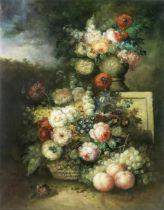 L. Martin (20th Century) Still life of flowers in a parkland landscape unframed