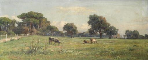 Achille Vertunni (Italian, 1826-1897) Pastoral landscape with cattle grazing