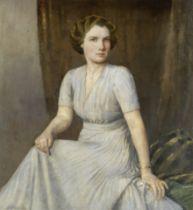 Bertram Priestman (British, 1868-1951) Portrait of a lady, seated, in a blue dress