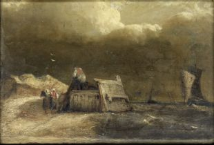 Manner of John Wilson, RSA Coastal scene with boats and figures