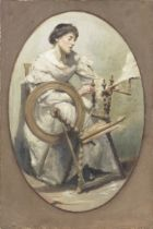 English School (Late 19th/early 20th century) Portrait of a lady with a spinning wheel unframed