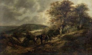 John Joseph Barker of Bath (British, 1824-1904) Landscape with huntsman, horse and dogs