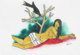 Maqbool Fida Husain (Indian, 1915-2011) Untitled (Woman with a crow)
