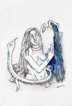 Maqbool Fida Husain (Indian, 1915-2011) Untitled (Woman with water jar and snake)