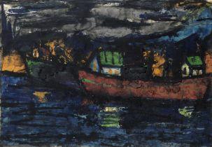 K.H. Ara (Indian, 1917-2001) Untitled (Boats)