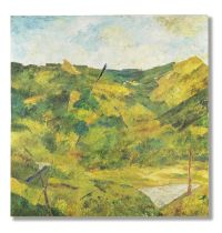 Ram Kumar (Indian, 1924-2018) Untitled (Landscape; Diptych) (each canvas 91.5 x 91.3; total size ...