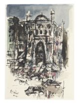 Nikhil Biswas (Indian, 1930-1966) Two works: Untitled (Horse and Carriage); Untitled (Cityscape) ...