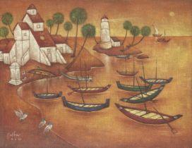 Adbul Aziz Raiba (Indian, 1922-2016) Untitled (Landscape with boats)