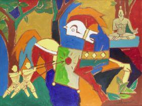 Maqbool Fida Husain (Indian, 1915-2011) Untitled (Possibly a scene from the Mahabharata, depictin...