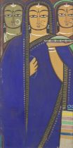 Jamini Roy (Indian, 1887-1972) Untitled (Bride with two companions)