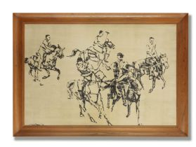 Ismail Gulgee (Pakistani, 1926-2007) Untitled (Polo Players) (In original frame)