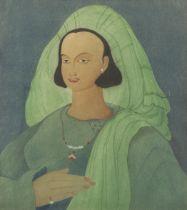 Abdur Rahman Chughtai (Pakistani, 1897-1975) Maiden in a green headdress