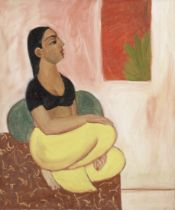 Sudhir Patwardhan (Indian, b. 1949) Woman in black blouse (gallery label on reverse of canvas)