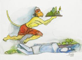 Maqbool Fida Husain (Indian, 1915-2011) Hanuman Series (Four Paintings) ((4))