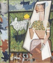 J. SULTAN ALI (INDIA, 1920-1990) The Milkmaid (label verso with the artist's name and address (42...
