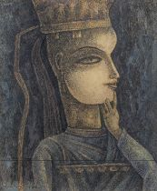 Ganesh Pyne (Indian, 1937-2013) Untitled (Head of a Woman)