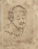 Mukul Dey (Indian, 1895-1989) Albert Einstein , sheet 19 x 15 cm. (7 1/2 x 6in) (further inscribe...