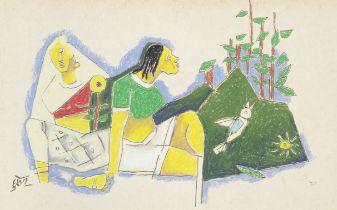Maqbool Fida Husain (Indian, 1915-2011) Untitled (Seated women in a landscape)