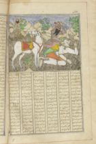 A lithograph copy of Firdausi's Shahnama, with 57 coloured illustrations, copied by two scribes,'...