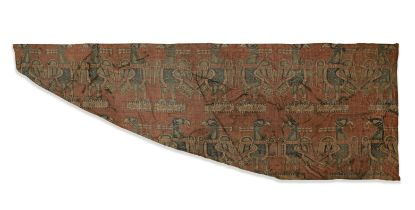 A Sogdian silk samite fragment with confronting eagles Central Asia, 7th-9th Century