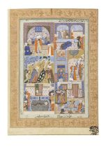 A fine and unusual double-sided album page from the Imperial Mughal Library during the reign of t...