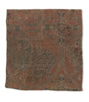 A Sogdian silk samite fragment with winged horses Central Asia, 7th-9th Century
