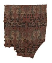 A Sogdian silk samite fragment with lions and bulls Central Asia, 7th-9th Century