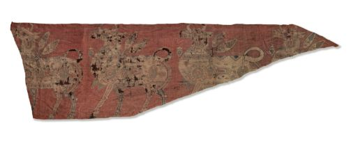 A Sogdian silk samite fragment with winged bulls Central Asia, 7th-9th Century